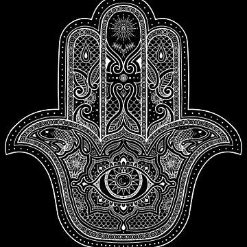 Hamsa Hand in Schwarz + Weiß von dinafiala