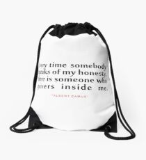 "Every time somebody...""Albert Camus"" Inspirational Quote Drawstring Bag"