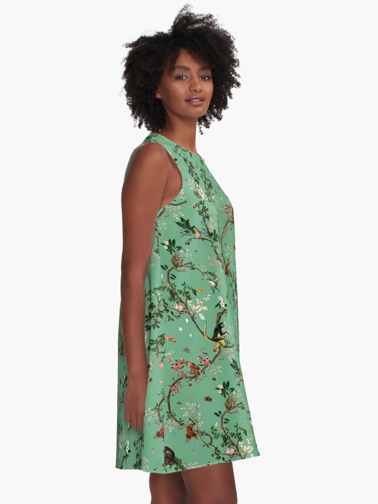 Alternate view of Monkey World Green A-Line Dress