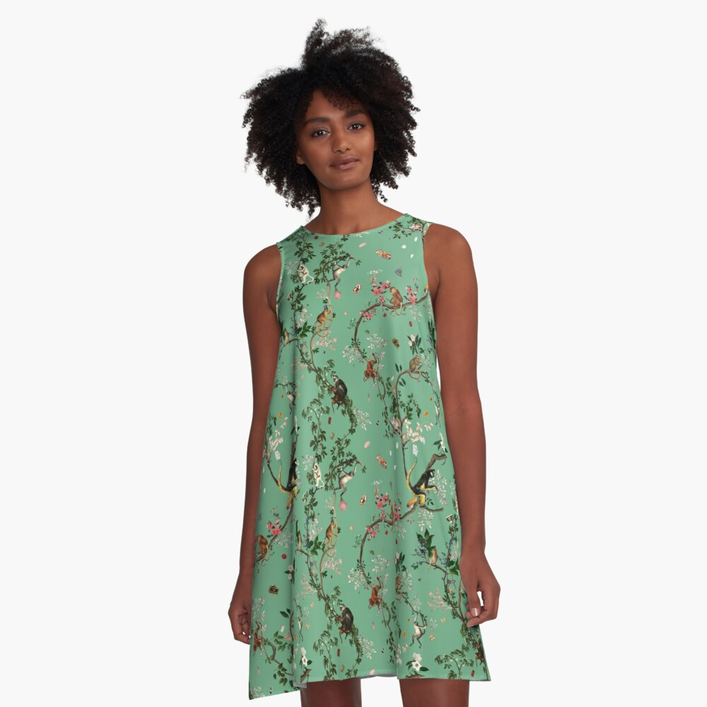 Monkey World Green A-Line Dress