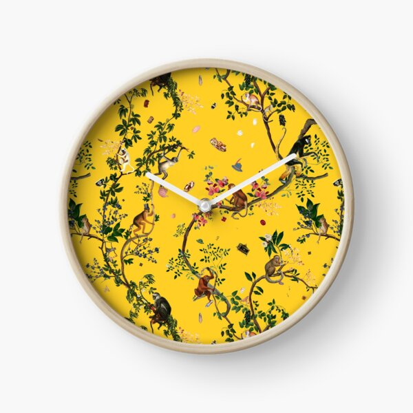 Monkey World Yellow Clock