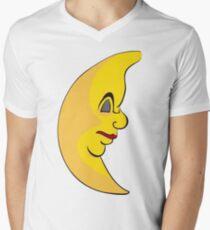 Serious sleeping moon Mens V-Neck T-Shirt