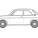 Austin Allegro Outline Drawing by RJWautographics