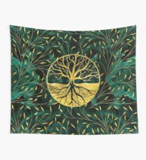Golden Tree of Life Yggdrasil on Malachite Wall Tapestry