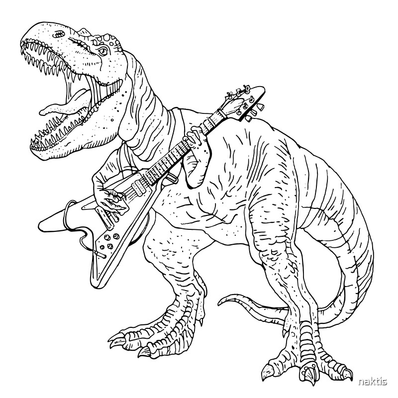 Heavy metal dinosaur graphic style for tattoo and coloring ...