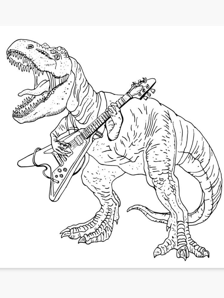 Heavy metal dinosaur graphic style for tattoo and coloring fans.   Canvas  Print