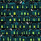 Starry Night in the City - Turquoise & Lime by ZirkusDesign
