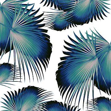 Fan Palm Leaves Paradise #1 #tropical #decor #art by anitabellajantz
