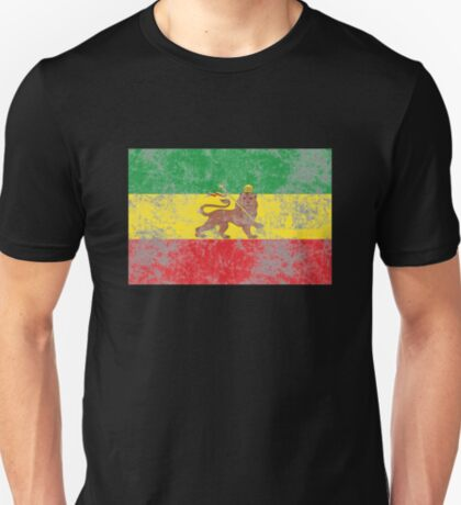 Old Flag of Ethiopia Lion of Judah Rastafarian Reggae T-Shirt