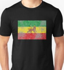 Old Flag of Ethiopia Lion of Judah Rastafarian Reggae Unisex T-Shirt