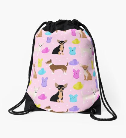 Chihuahua dog breed marshmallow peeps easter spring traditions cute dog breed gifts chihuahuas Drawstring Bag