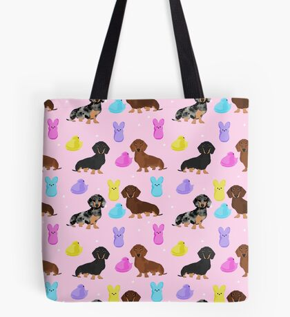 Dachshund dog breed peeps marshmallow treat easter spring doxie lover Tote Bag