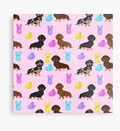 Dachshund dog breed peeps marshmallow treat easter spring doxie lover Metal Print