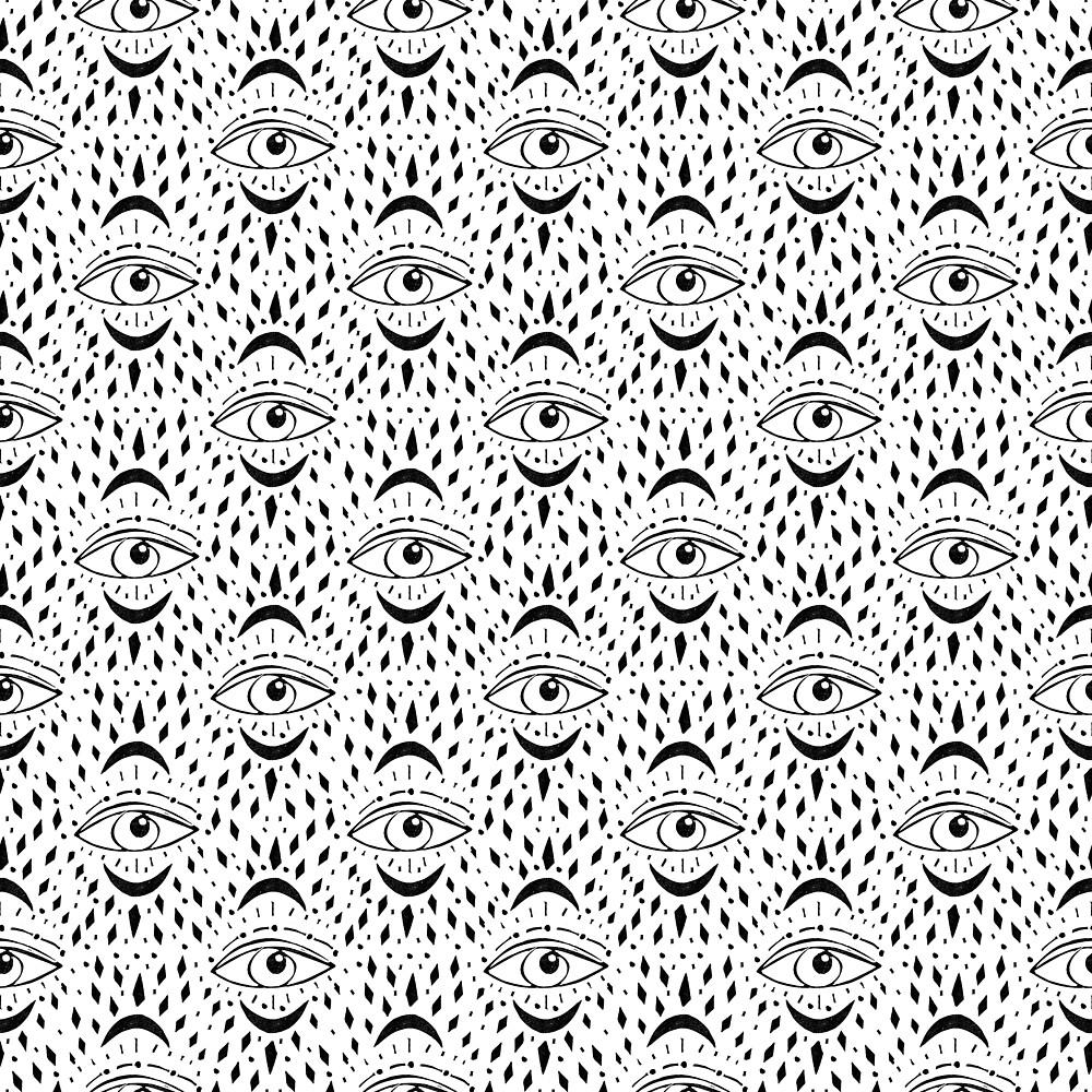 Linocut eye pattern black and white trendy minimal tribal spiritual linocut eye pattern black and white trendy minimal tribal spiritual mysticism art ccuart Images