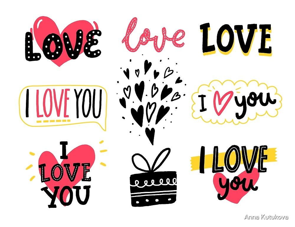 Conjunto de pegatinas de amor de anna kutukova redbubble - Pegatinas pared frases ...