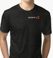 Sony Alpha (With Text, White) Tri-blend T-Shirt