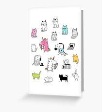 Cats. Dinosaurs. Unicorn. Sticker set. Greeting Card