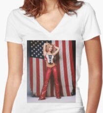 Britney Fourth of July/Rollingstone Women's Fitted V-Neck T-Shirt