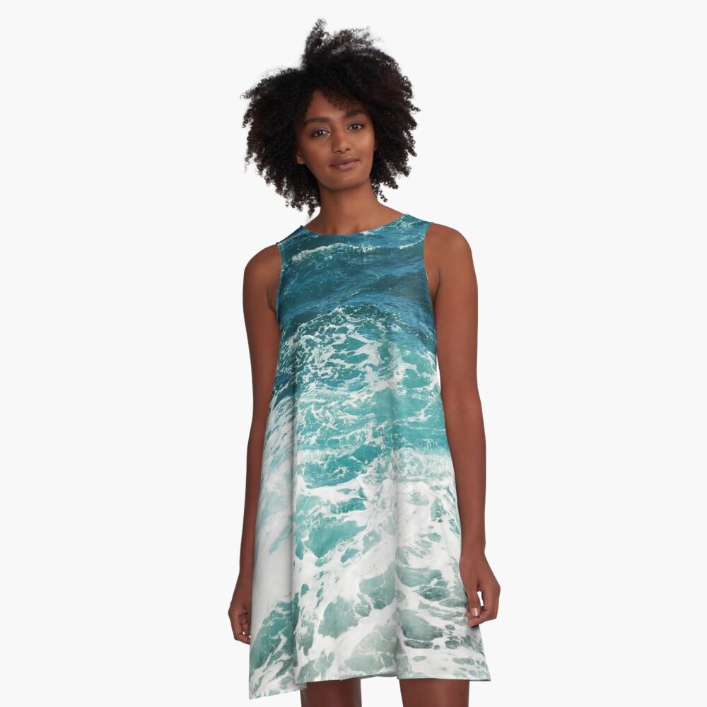 Blaue Meereswellen A-Linien Kleid