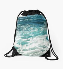 Blue Ocean Waves  Drawstring Bag