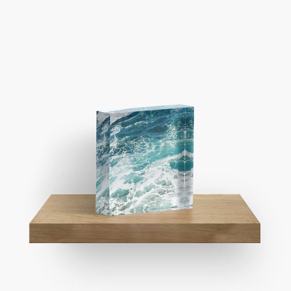 Blue Ocean Waves  Acrylic Block