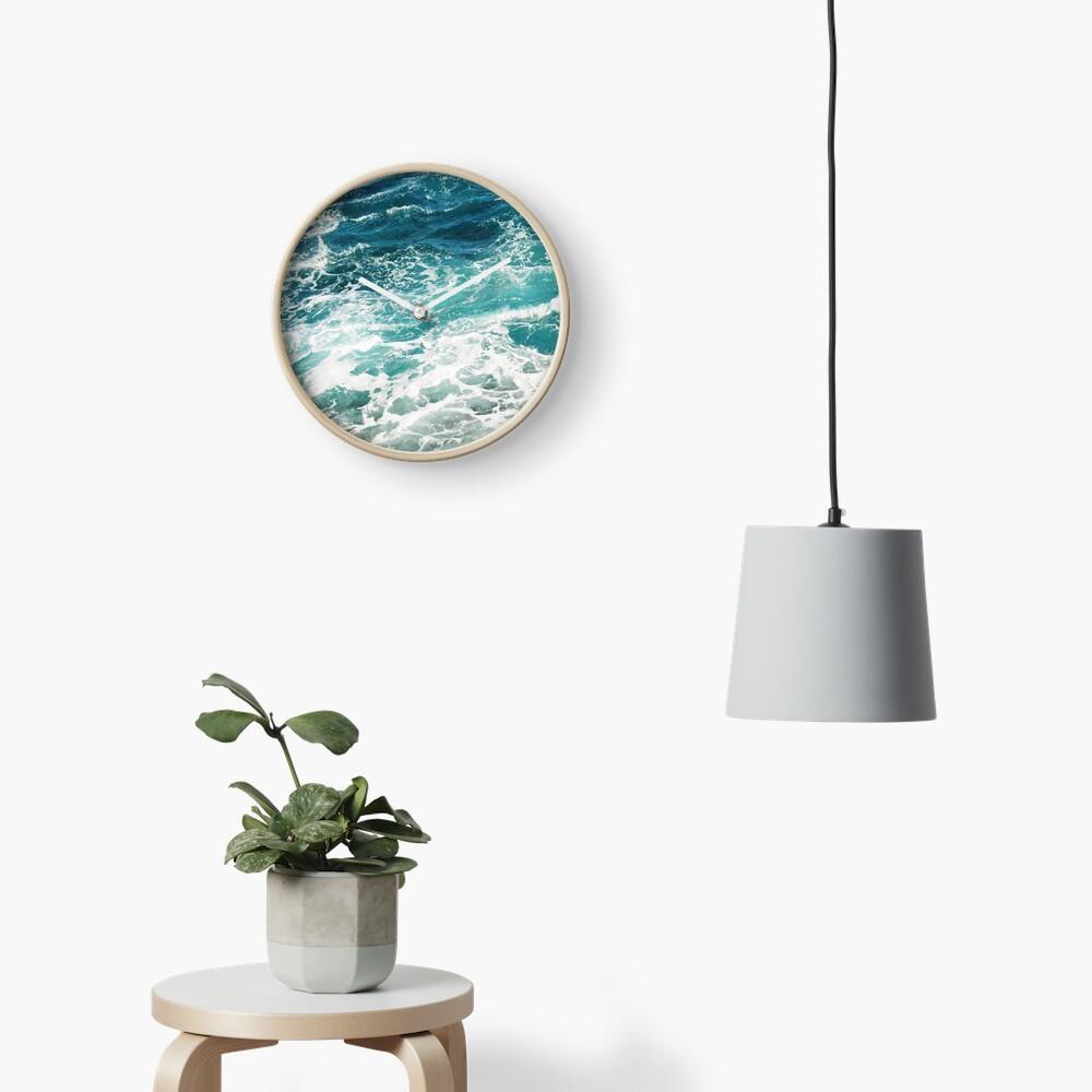 Blue Ocean Waves  Clock