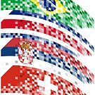 Abstract composition of the flags of national sports teams by siloto