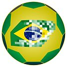 Football ball with Brazil flag by siloto