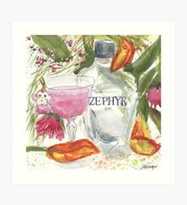Little Pink Monkey martini with Zephyr Gin Art Print