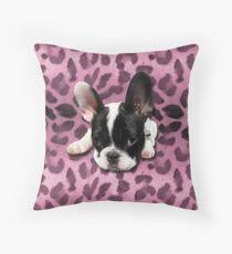 French Bulldog rockabilly leo Throw Pillow