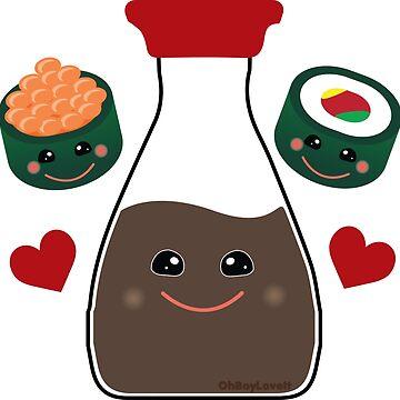 Kawaii Sushi Design | Soy Sauce and Maki by OhBoyLoveIt