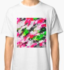 psychedelic geometric square pixel pattern abstract in pink green Classic T-Shirt