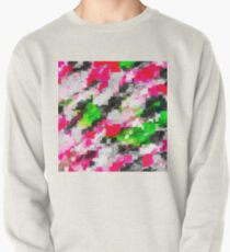 psychedelic geometric square pixel pattern abstract in pink green Pullover