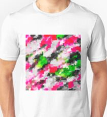 psychedelic geometric square pixel pattern abstract in pink green Unisex T-Shirt