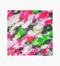 psychedelic geometric square pixel pattern abstract in pink green Scarf