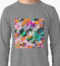 psychedelic geometric square pixel pattern abstract in orange green pink blue Lightweight Sweatshirt