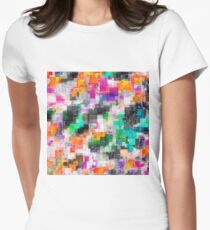 psychedelic geometric square pixel pattern abstract in orange green pink blue Women's Fitted T-Shirt