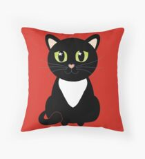 Only One Black and White Cat Throw Pillow