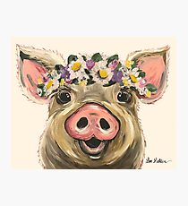 Farmhouse Pig Art, Pig with Flower Crown Photographic Print