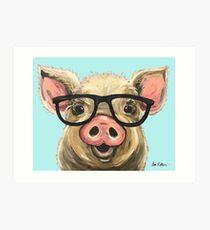 Cute Pig Art, Pig with Glasses Art Print