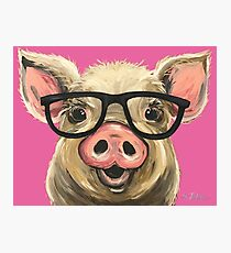 Pig with Glasses art, Cute pig art Photographic Print