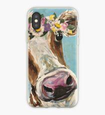 Cow Art, Cute Cow Farmhouse art iPhone Case