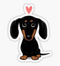 Pegatina Dachshund negro y marrón con corazón
