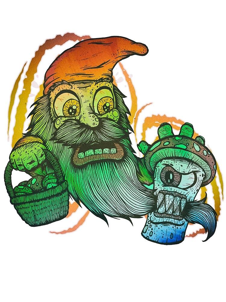 Gnome tripping on mushrooms! by Joey Di Nardo