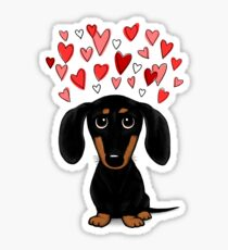 Black and Tan Dachshund with Hearts Sticker