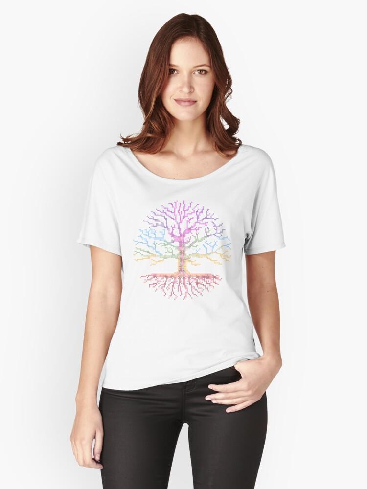'Rainbow Chakra Tree of Life - Cuadro de patrones de punto de cruz en el  fondo blanco - Pixel Art - Diseño de costuras en camisetas y vestidos!' ...