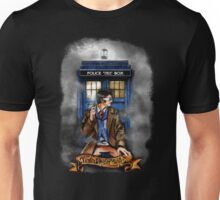 Mysterious Time traveller with blue Phone box Unisex T-Shirt