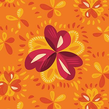 Orange Pink Clovers Abstract Floral Pattern by azzza