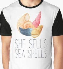 She Sells Sea Shells Water Color Graphic T-Shirt