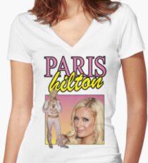 Paris Hilton 90s Style Shirt Women's Fitted V-Neck T-Shirt